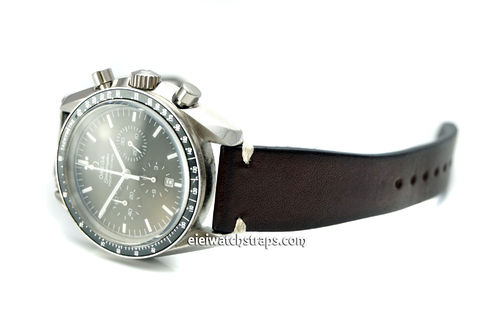 OMEGA Speedmaster Professional Moonwatch Vintage Racing Brown Leather Watch Strap White Stitching