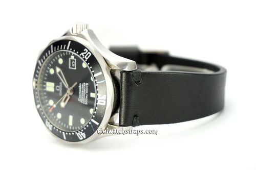 "OMEGA Seamater Professional ""Moonwatch Vintage Racing Black Leather Watch Strap"