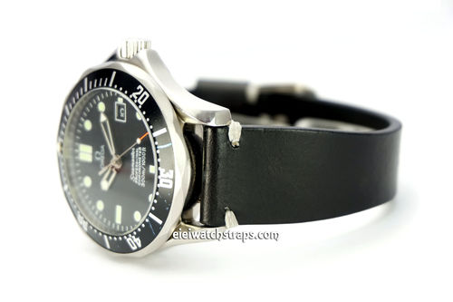 "OMEGA Seamater Professional ""Moonwatch Vintage Racing Black Leather Watch Strap White Stitched"