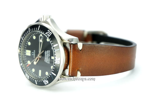 "OMEGA Seamater Professional ""Moonwatch Vintage Racing Brown Leather Watch Strap White Stitched"
