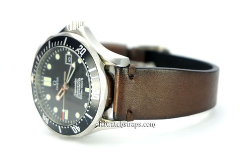 "OMEGA Seamater Professional ""Moonwatch Vintage Racing Dark Brown Leather Watch Strap"