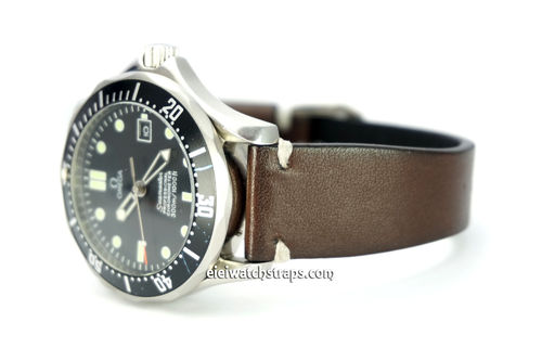 "OMEGA Seamater Professional ""Moonwatch Vintage Racing Dark Brown Leather Watch Strap White Stitched"