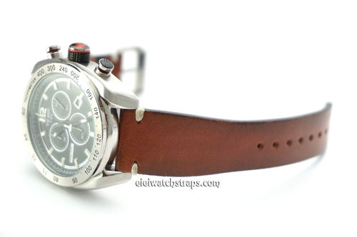 Vintage Racing Brown Leather Watch Strap White Sticked For Tissot Watch