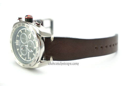 Vintage Racing Dark Brown Leather Watch Strap White Sticked For Tissot Watch