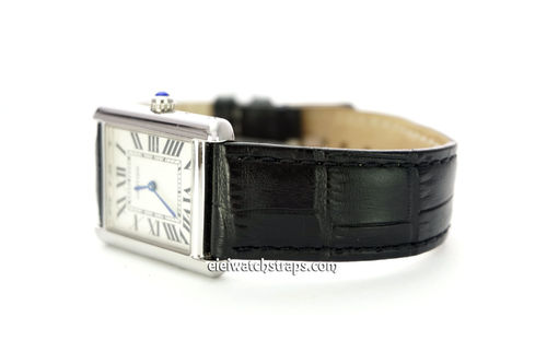 Classic Black Crocodile Grain Leather Watch Strap For Cartier