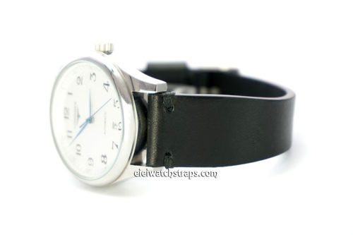 Handmade Vintage Racing Black Leather Watch Strap Black Stitching For Longines Watches