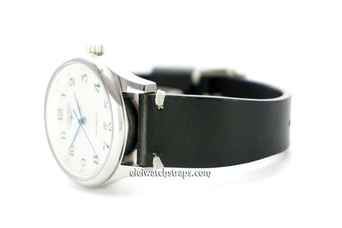 Handmade Vintage Racing Black Leather Watch Strap White Stitching For Longines Watches