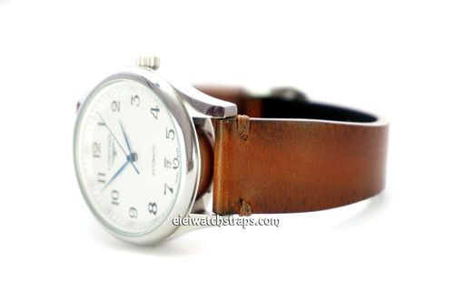 Handmade Vintage Racing Brown Leather Watch Strap Brown Stitching For Longines Watches
