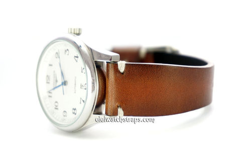 Handmade Vintage Racing Brown Leather Watch Strap White Stitching For Longines Watches