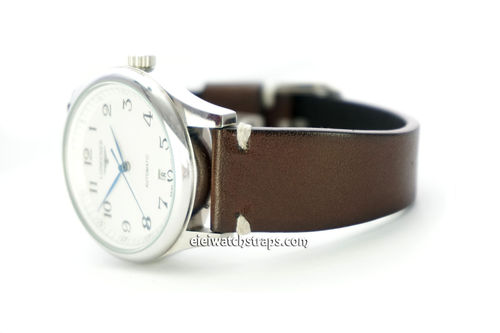 Handmade Vintage Racing Dark Brown Leather Watch Strap White Stitching For Longines Watches
