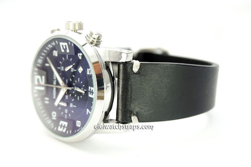 Handmade Vintage Racing Black Leather Watch Strap White Stitching For Montblanc Watches
