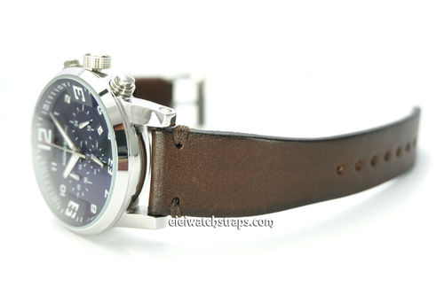 Handmade Vintage Racing Dark Brown Leather Watch Strap Brown Stitching For Montblanc Watches