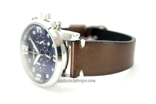 Handmade Vintage Racing Dark Brown Leather Watch Strap White Stitching For Montblanc Watches
