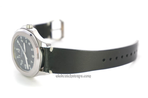 Handmade Vintage Racing Black Leather Watch Strap White Stitching For Patek Philippe