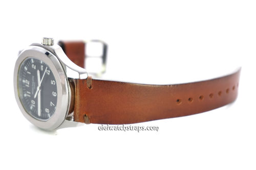 Handmade Vintage Racing Brown Leather Watch Strap Brown Stitching For Patek Philippe