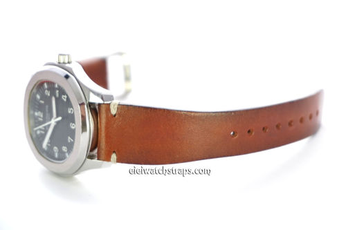 Handmade Vintage Racing Brown Leather Watch Strap White Stitching For Patek Philippe