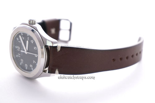 Handmade Vintage Racing Dark Brown Leather Watch Strap White Stitching For Patek Philippe