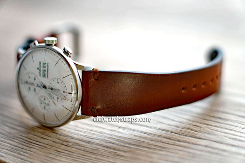 Handmade Vintage Racing Brown Leather Watch Strap Brown Stitching For Junghans Watches