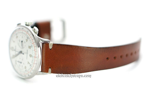 Handmade Vintage Racing Brown Leather Watch Strap White Stitching For Junghans Watches
