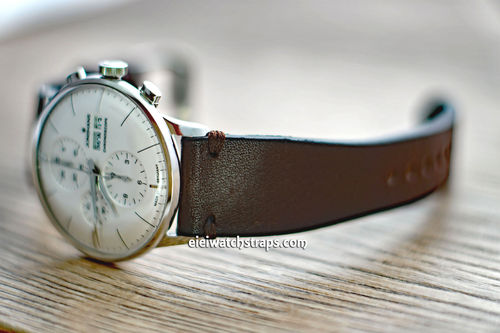 Handmade Vintage Racing Dark Brown Leather Watch Strap Brown Stitching For Junghans Watches