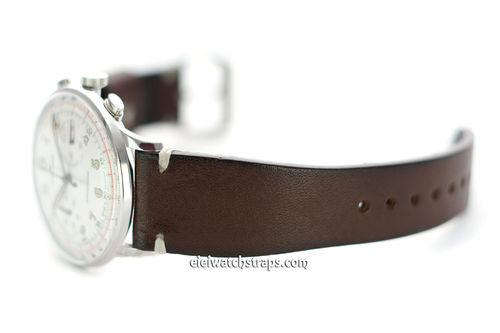Handmade Vintage Racing Dark Brown Leather Watch Strap White Stitching For Junghans Watches