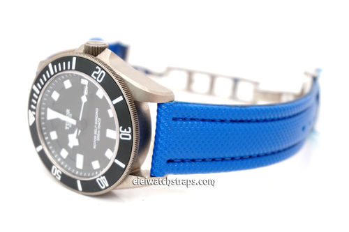 22mm Blue Polyurethane Waterproof watch strap with Deployment Clasp For Tudor Watches