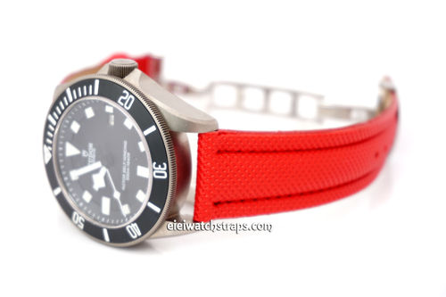 22mm Red Polyurethane Waterproof watch strap with Deployment Clasp For Tudor Watches