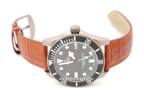 Classic Brown Crocodile Watch Strap For Tudor Watches