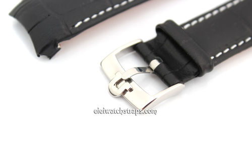 Crocodile Curved lug Ended Watch Strap Vintage Buckle For Omega Seamaster Professional