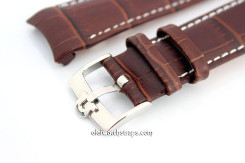 Black Crocodile Curved lug Ended Watch Strap Vintage Buckle For Omega Watches