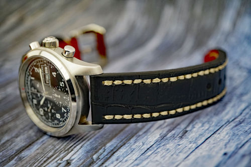 Handmade Black Alligator Watch Strap White Stitched For Hamilton Khaki