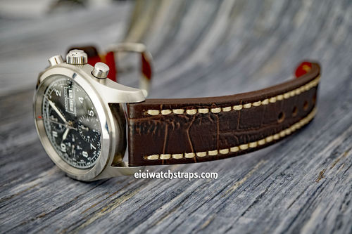 Handmade Brown Alligator Watch Strap White Stitched For Hamilton Khaki