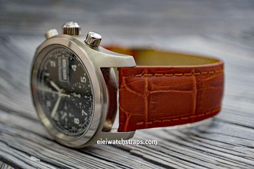 Classic Brown Crocodile Grain Leather Watch Strap For Hamilton Khaki