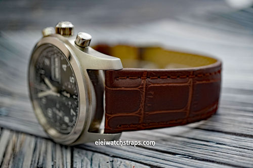 Classic Dark Brown Crocodile Grain Leather Watch Strap For Hamilton Khaki