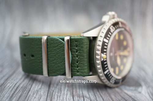 NATO Green Leather Watch Strap For Steinhart Watches