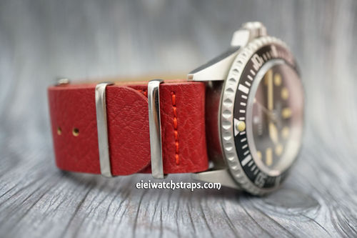 NATO Red Leather Watch Strap For Steinhart Watches