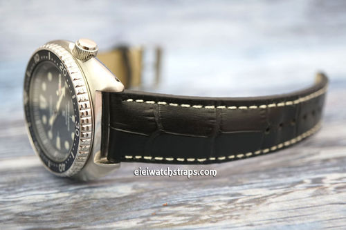 Seiko Turtle Prospex Matt Black Alligator Grain Padded Leather Watch Strap
