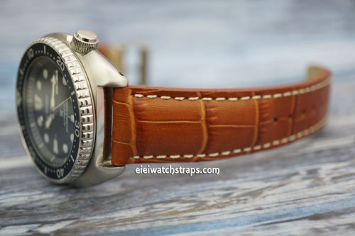 Seiko Turtle Prospex Matt Brown Alligator Grain Padded Leather Watch Strap