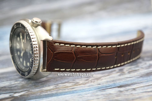 Seiko Turtle Prospex Matt Dark Brown Alligator Grain Padded Leather Watch Strap