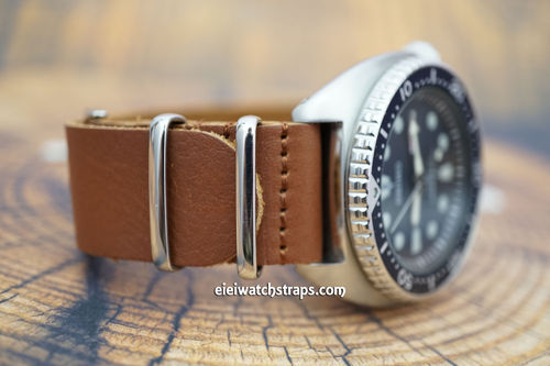 Seiko Turtle NATO Genuine Brown Leather Watch Strap