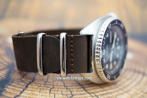 Seiko Turtle NATO Genuine Coffee Brown Leather Watch Strap