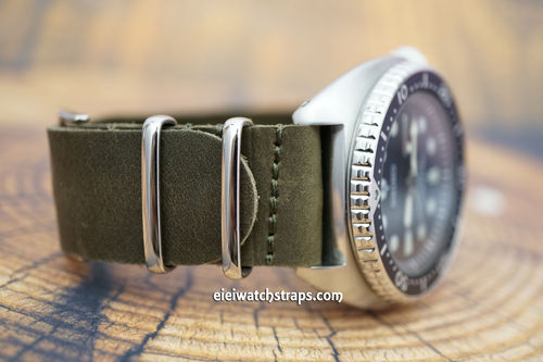 Seiko Turtle NATO Genuine Green Leather Watch Strap
