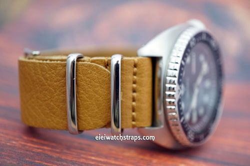 Seiko Turtle NATO Genuine Tan Brown Leather Watch Strap