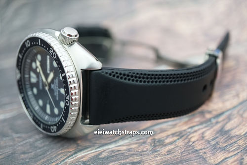 Seiko Turtle 22mm Monza Silicon Rubber Divers Watch Strap on Stainless Steel Deployment