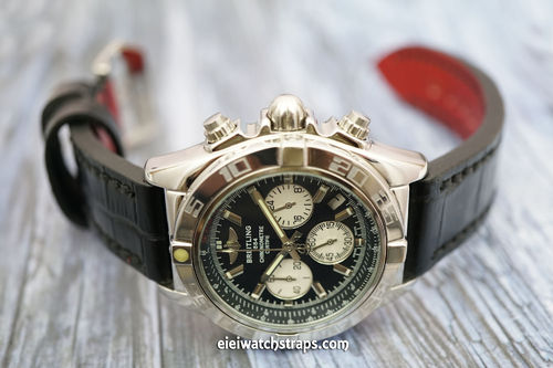 BREITLING Chronomat Handmade Black Alligator Watch Strap