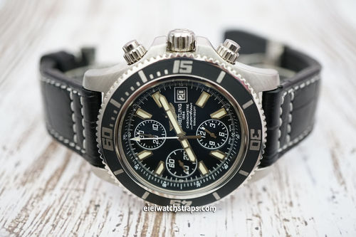 Breitling Superocean Aviator Hand Made 22mm Black Alligator watch strap on Deployment Clasp