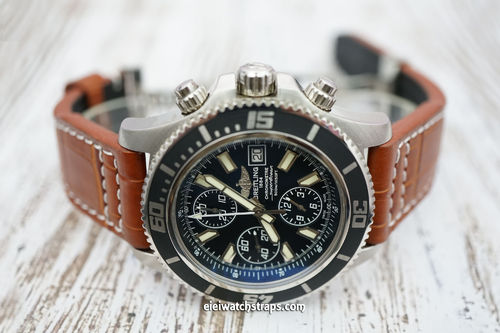 Breitling Superocean Aviator Hand Made 22mm Brown Alligator watch strap on Deployment Clasp