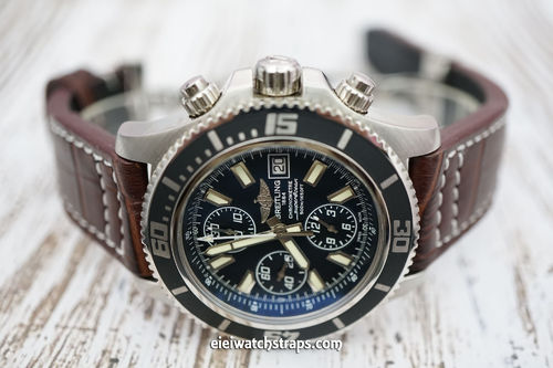 Breitling Superocean Aviator Hand Made 22mm Dark Brown Alligator watch strap on Deployment Clasp