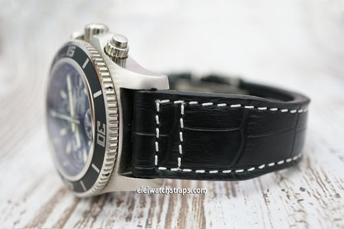 Breitling Superocean Aviator Hand Made 22mm Black Alligator watch Strap