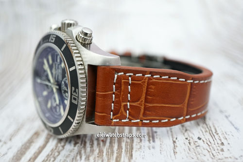 Breitling Superocean Aviator Hand Made 22mm Brown Alligator watch Strap